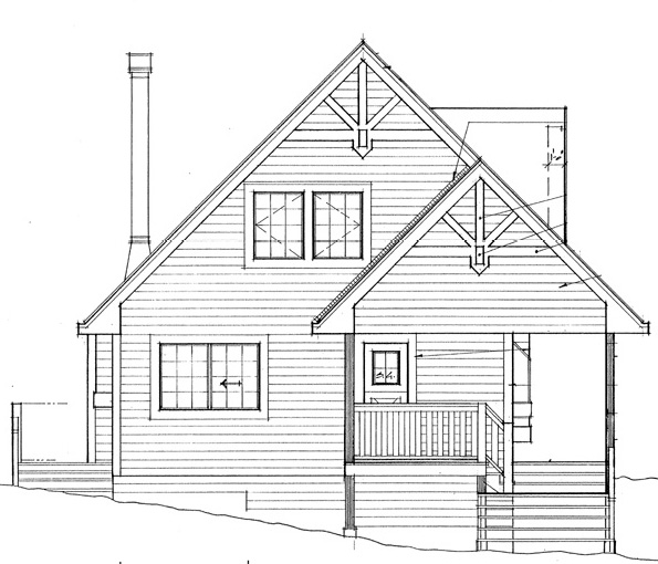 Rear Elevation of Cabin   Contemporary   House Plan 76001