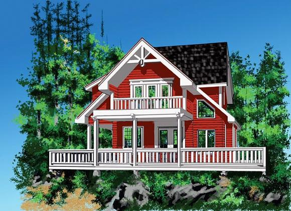 Cabin, Narrow Lot House Plan 76011 with 2 Beds, 2 Baths Elevation