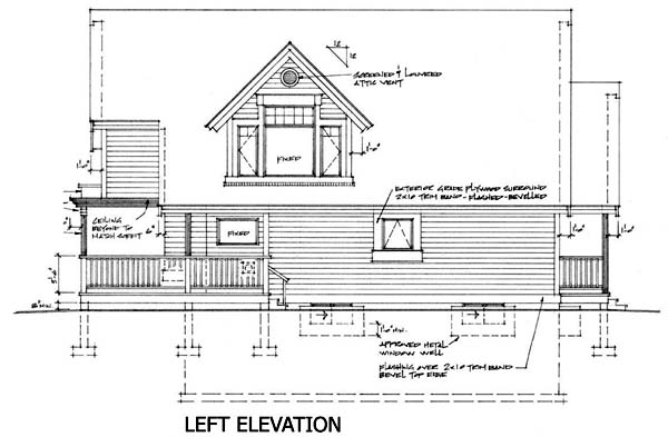 Cabin, Narrow Lot House Plan 76011 with 2 Beds, 2 Baths Picture 1