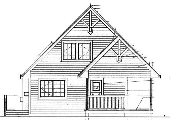 Cabin Contemporary House Plan 76012 Rear Elevation