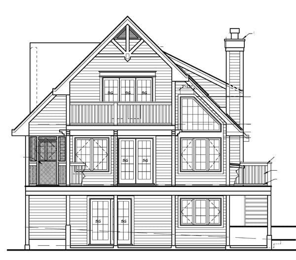 Cabin Cottage House Plan 76014 Rear Elevation