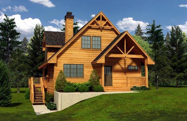 Cabin Cottage House Plan 76016 Elevation