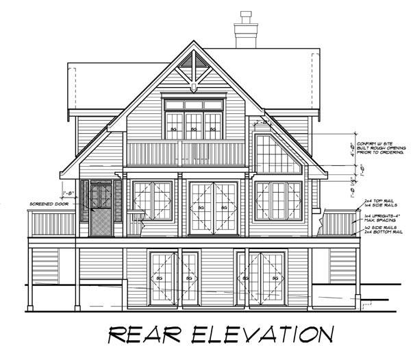 Cabin Cottage House Plan 76016 Rear Elevation