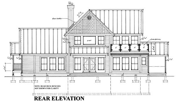 Cottage Farmhouse Traditional House Plan 76017 Rear Elevation
