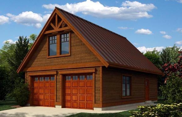 Cottage, Craftsman 2 Car Garage Apartment Plan 76019 Elevation