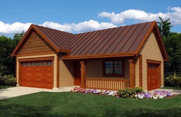 Cottage Craftsman Ranch Garage Plan 76020 Elevation