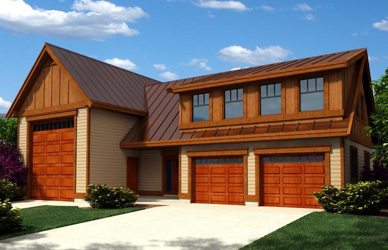 Craftsman Style 3 Car Garage Apartment Plan Number 76023, RV Storage