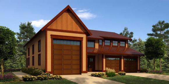 3 Car Garage Plan 76034, RV Storage Elevation