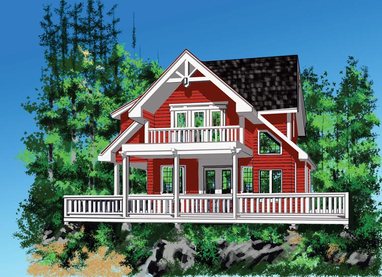 Cabin Cottage House Plan 76036 Elevation