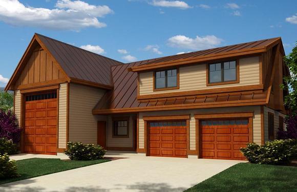 Craftsman 3 Car Garage Apartment Plan 76038 with 2 Beds, 2 Baths, RV Storage Elevation