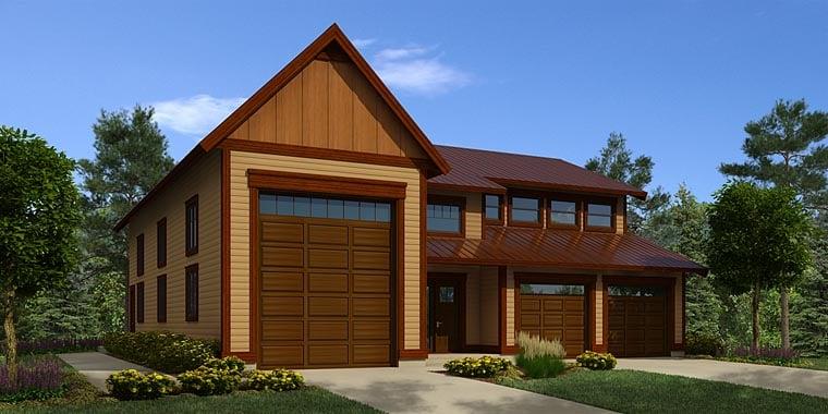 Traditional 3 Car Garage Plan 76056, RV Storage Elevation