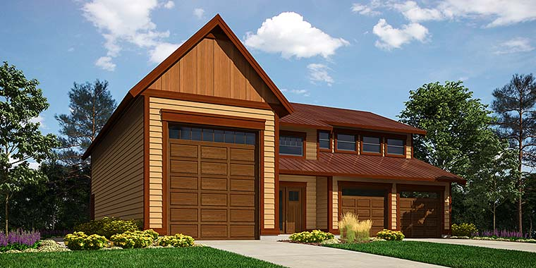 Traditional Style 3 Car Garage Apartment Plan Number 76061 with 1 Bed, 2  Bath, RV Storage