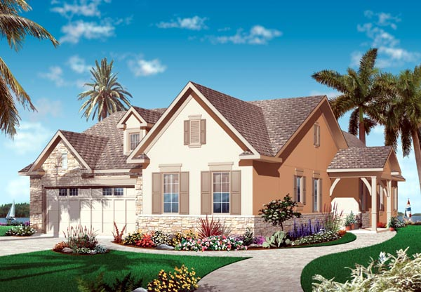 Florida, Mediterranean, Narrow Lot, One-Story House Plan 76101 with 3 Beds, 2 Baths, 2 Car Garage Elevation