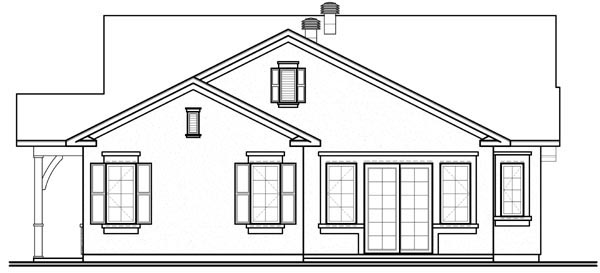 Florida, Mediterranean, Narrow Lot, One-Story House Plan 76101 with 3 Beds, 2 Baths, 2 Car Garage Rear Elevation