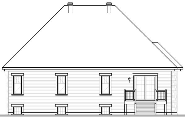 European Traditional House Plan 76112 Rear Elevation
