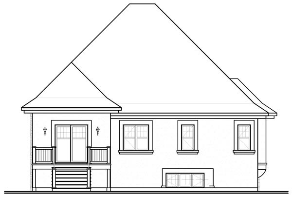 European Traditional House Plan 76113 Rear Elevation