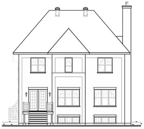 European House Plan 76117 Rear Elevation