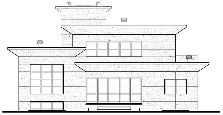 Contemporary House Plan 76120 Rear Elevation