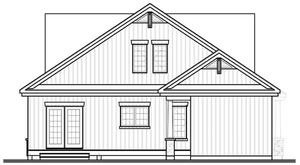 Craftsman, Traditional House Plan 76125 with 4 Beds, 3 Baths, 2 Car Garage Rear Elevation