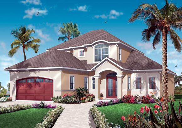 Florida House Plan 76128 with 4 Beds, 4 Baths, 2 Car Garage Elevation