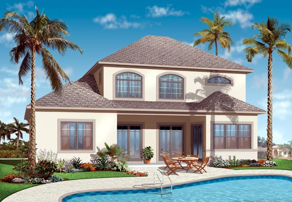 Florida House Plan 76128 with 4 Beds, 4 Baths, 2 Car Garage Rear Elevation