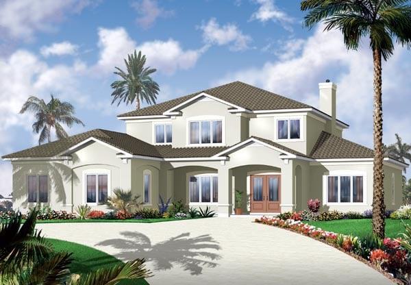 Florida House Plan 76131 with 6 Beds, 5 Baths, 3 Car Garage Elevation