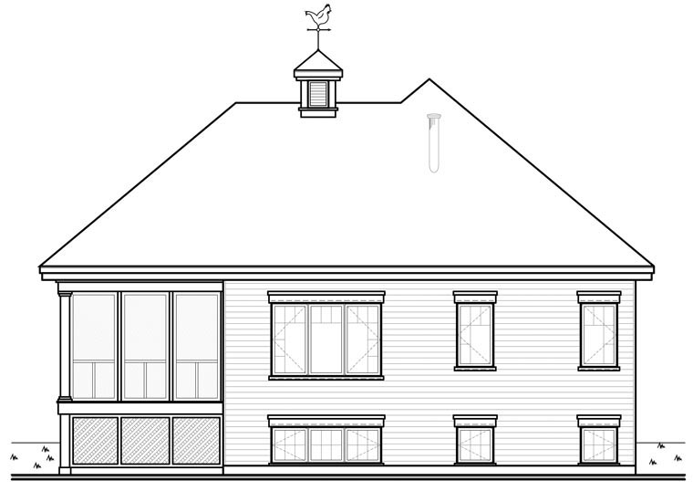 Traditional House Plan 76152 with 1 Beds, 1 Baths Rear Elevation