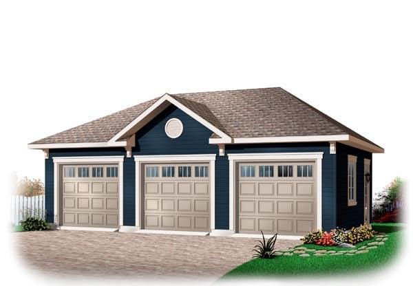 3 Car Garage Plan 76153 Elevation