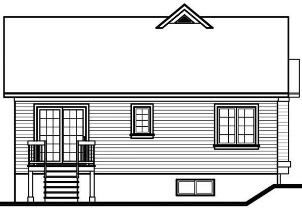 Bungalow, Traditional House Plan 76156 with 2 Beds, 1 Baths Rear Elevation