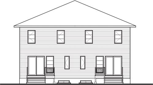 Contemporary Multi-Family Plan 76178 Rear Elevation