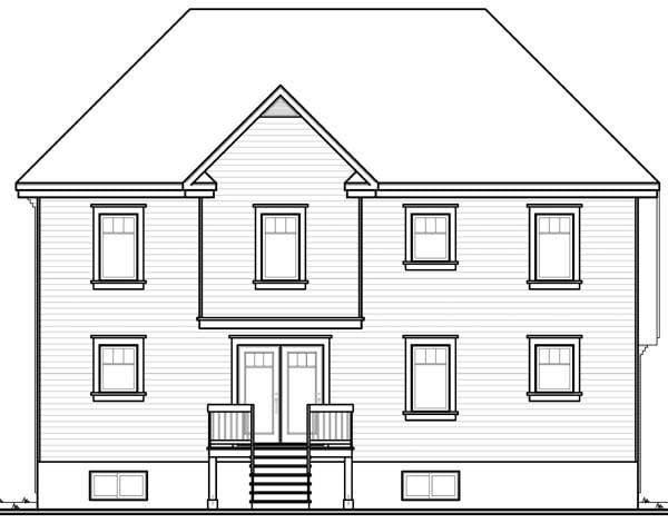 European House Plan 76211 Rear Elevation