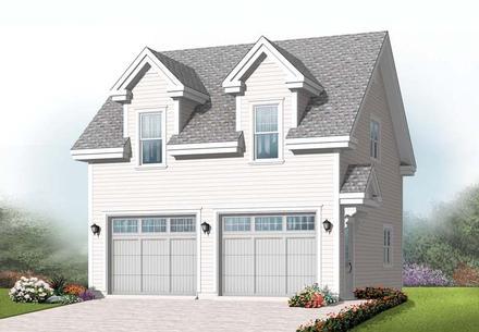 Traditional 2 Car Garage Apartment Plan 76239