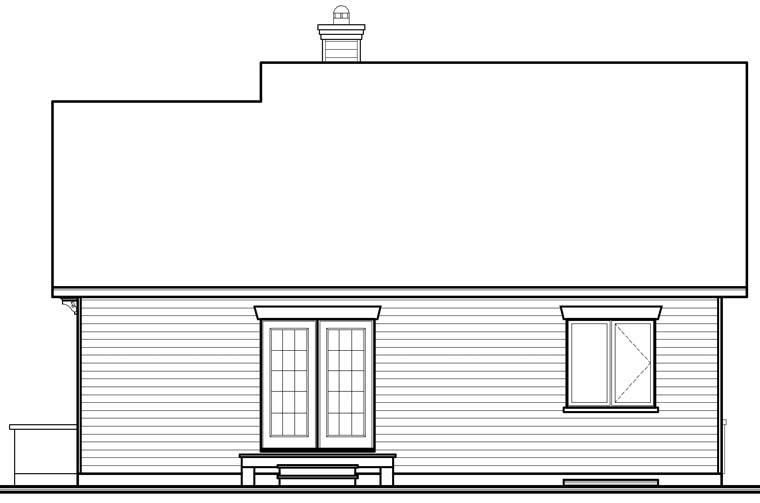 Traditional House Plan 76247 with 2 Beds, 1 Baths Rear Elevation