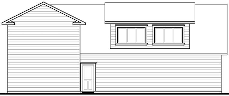 Traditional Rear Elevation of Plan 76278