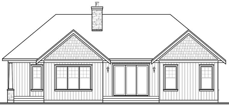 Country Craftsman House Plan 76289 Rear Elevation