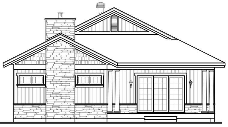 Country Craftsman House Plan 76292 Rear Elevation