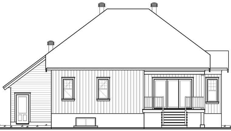 Country Craftsman House Plan 76297 Rear Elevation