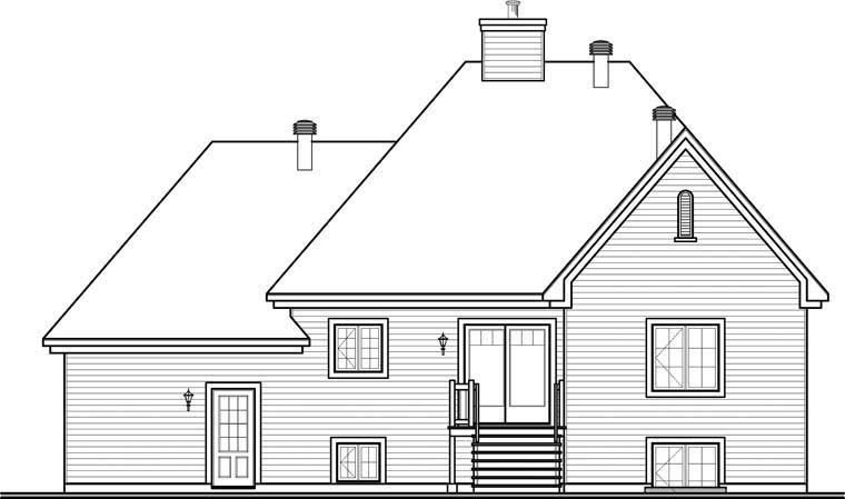 European House Plan 76302 Rear Elevation