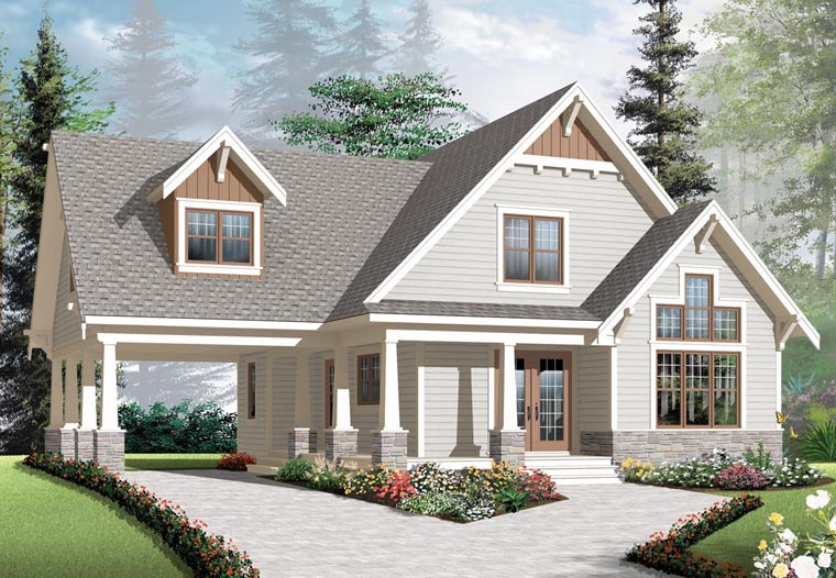 Cottage, Country, Craftsman House Plan 76308 with 3 Beds, 2 Baths, 1 Car Garage Elevation