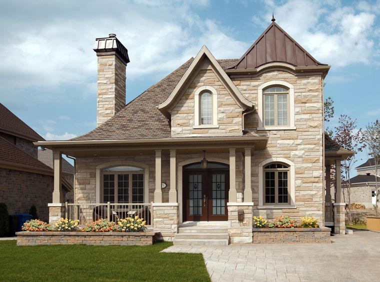 European House Front Elevation : House plan familyhomeplans