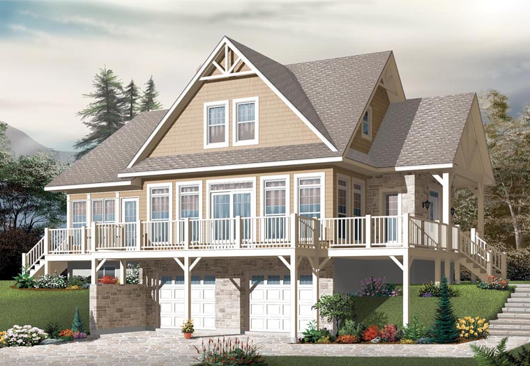 Cottage, Country, Craftsman House Plan 76329 with 3 Beds, 3 Baths, 2 Car Garage Elevation