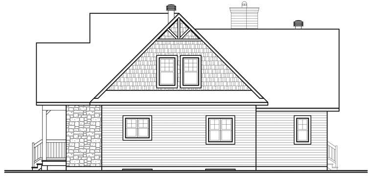 Cottage, Country, Craftsman House Plan 76329 with 3 Beds, 3 Baths, 2 Car Garage Rear Elevation