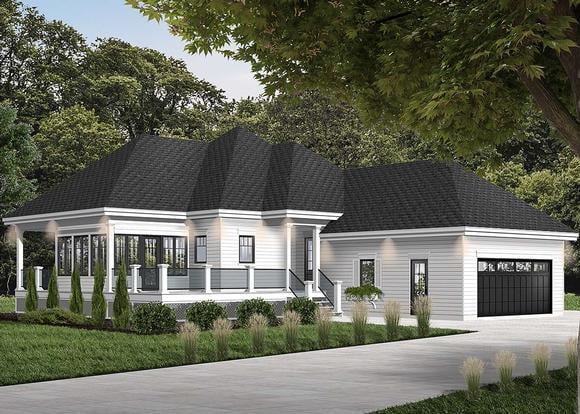 Cottage House Plan 76335 with 2 Beds, 2 Baths, 2 Car Garage Elevation