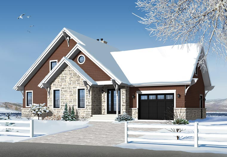 House plan 76342 at for Chalet style homes with attached garage