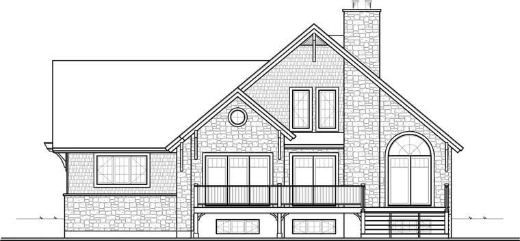 Cottage Craftsman House Plan 76342 Rear Elevation