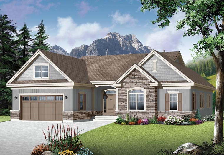 House plan 76350 country craftsman style plan with 1780 sq ft 3 beds 2 baths - Style de maison americaine ...