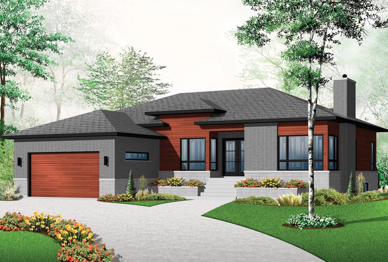 contemporary modern house plan 76355 elevation - Modern Farmhouse Plans