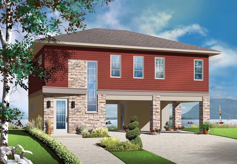 Contemporary Cottage House Plan 76373 Elevation