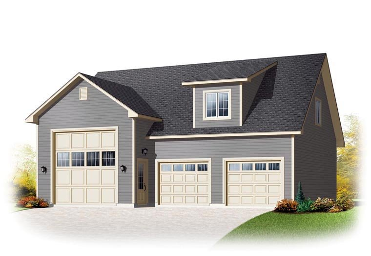 Country Style 3 Car Garage Apartment Plan Number 76374, RV Storage