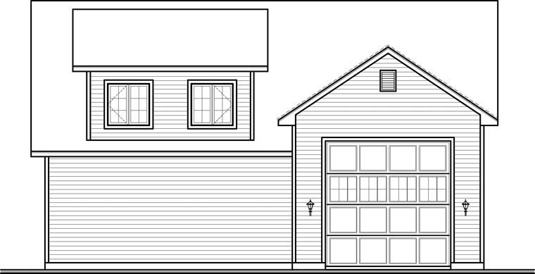 Country 3 Car Garage Apartment Plan 76374, RV Storage Rear Elevation